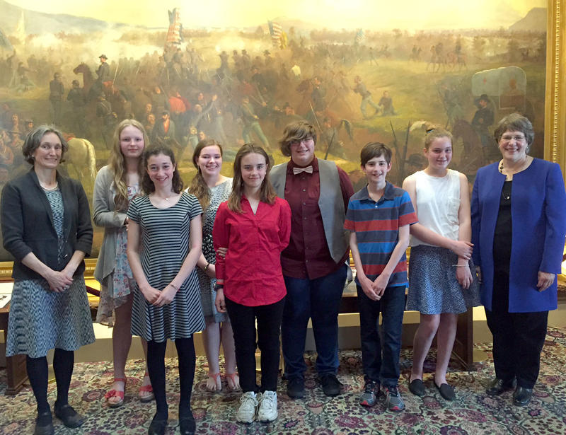 Vermont's first winners of the national Letters About Literature contest were honored in the Cedar Creek Room of the Vermont Statehouse on Friday.
