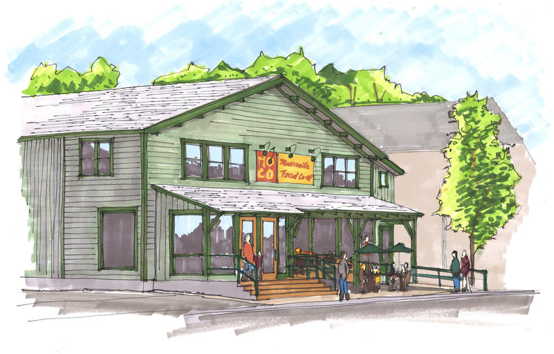 The Morrisville Food Co-op plans to officially open its doors this fall. This rendering shows what MoCo, as it is known locally, will look like after renovations are complete.