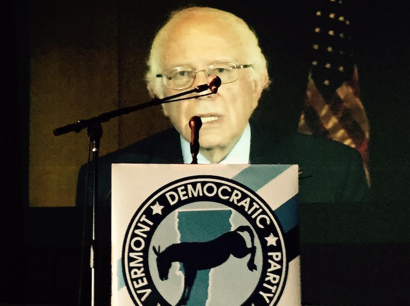 In a pre-recorded video message broadcast at the Vermont Democratic Convention in Barre Sunday, Sen. Bernie Sanders thanked members of the party for their support.