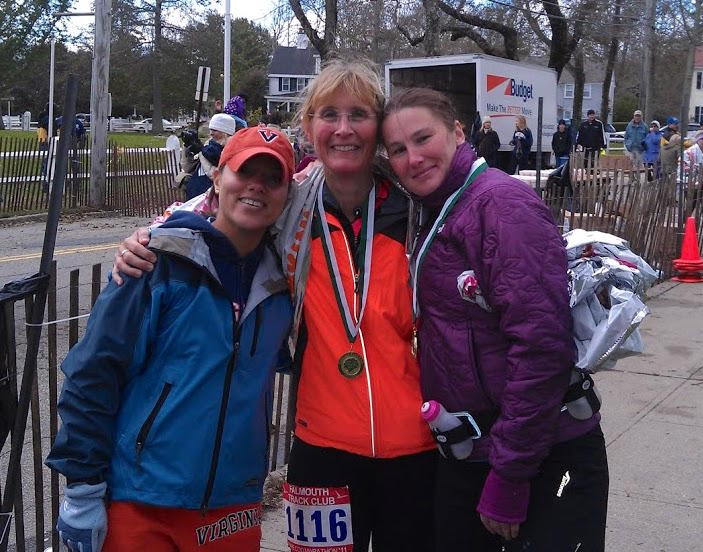 Ellie Brady, center, took up running after her only child left for college. She ran her first marathon in 2011, and has become a regular at the Vermont City Marathon.