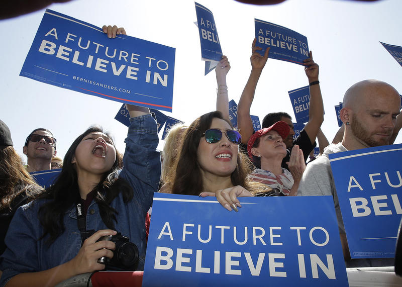 Bernie Sanders supporters in Stockton, Calif. on May 10. Sanders says a big victory in West Virginia this week keeps his hopes alive that he can win the Democratic nomination.