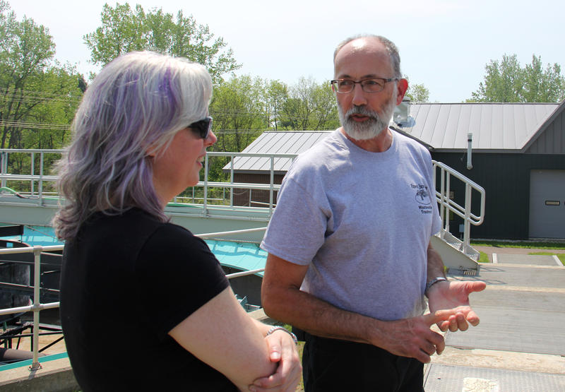 Essex Junction Water Quality Superintenden Jim Jutras gave tours of the wastewater treatment plant to members of the public, including Essex Junction Board of Trustees Vice President Elaine Sopchak (left).