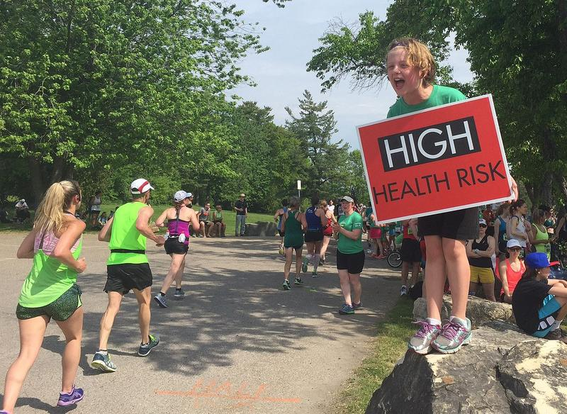 "Warnings increased from red to black, meaning ""Extreme,"" around noon during Sunday's Vermont City Marathon."