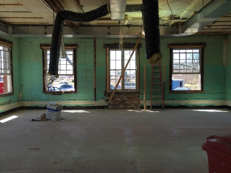 The brick was once painted mint green.