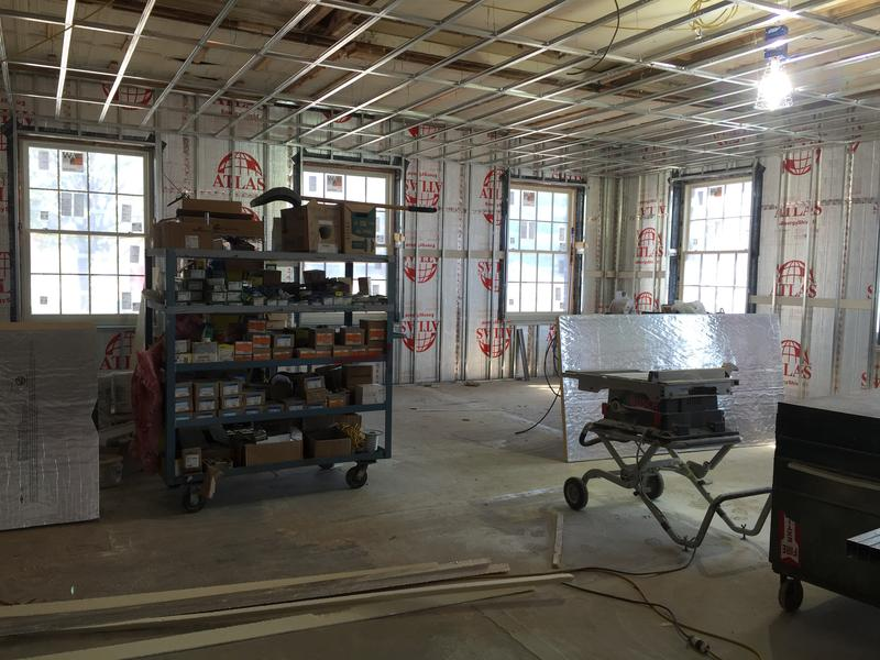Historic building, formerly the front office area. This section of the building will house development, administration and finance once the construction is complete.