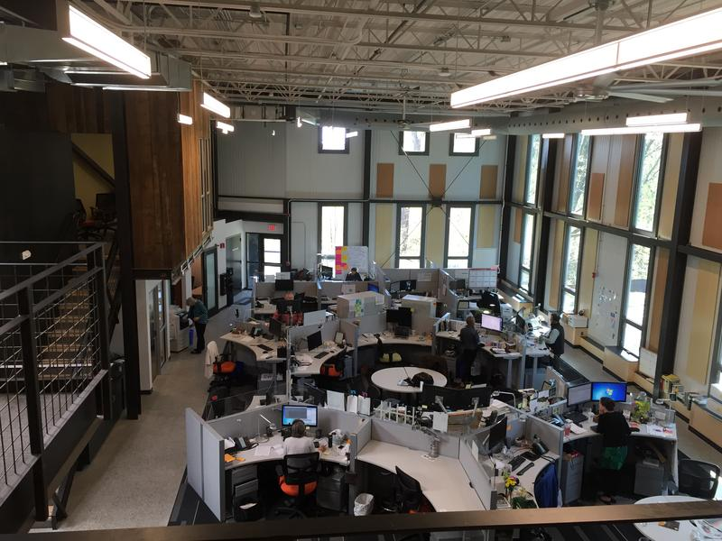 View of the VPR News Center from the mezzanine conference rooms