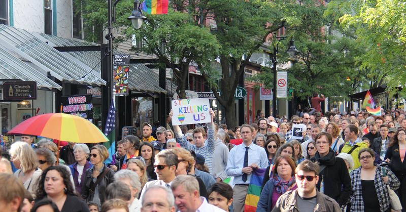 More than a thousand marched down Church Street in Burlington Monday night as part of a vigil held in honor of the victims of the Orlando shooting organized by Pride Center of Vermont.