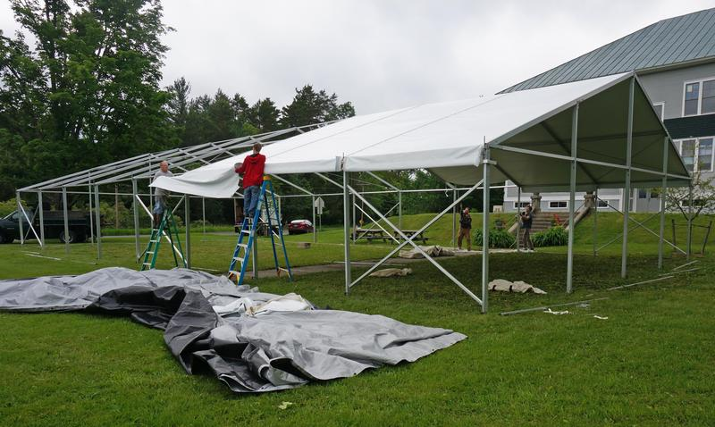 The Mirror Theater tent went up on the Greensboro town hall green this week. Mirror Repertory Company representatives say they're planning for this to be the last summer under the tent.