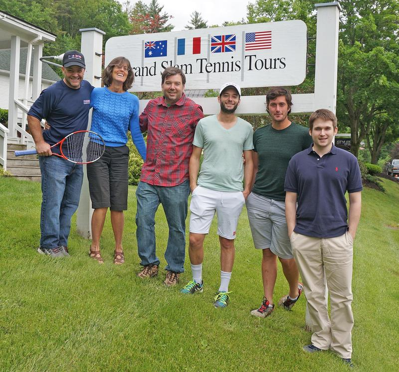 Andrew Chmura, Chris Campbell, Sam Duvall, Kyle Ross, Jimmy Watson and Guillaume Hospod (l tor) are some of the professionals in Stowe working to bring pro tennis matches back to town.