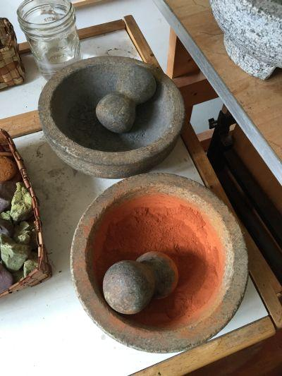 The rocks are then ground into fine powder with a mortar and pestle.