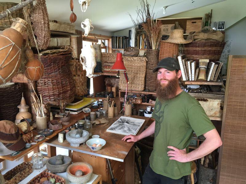 Most of the pigments and tools in Nick Neddo's home studio were made by the artist himself.