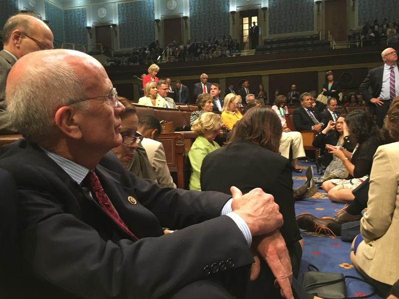 Rep. Peter Welch sits in protest on the floor of the House of Representatives at the U.S. Capitol on Wednesday