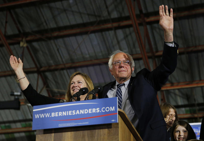 Sen. Bernie Sanders and his wife Jane Sanders, left, at a campaign rally in June 2016. Jane Sanders' financial management of Burlington College has been a source of controversy.