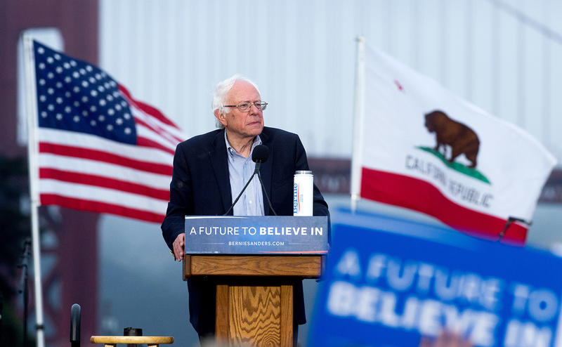 Sen. Bernie Sanders campaigns on June 6 in San Francisco, Calif. on the eve of that state's presidential primary. After the Associated Press named Hillary Clinton the presumptive nominee of the Democratic Party, Sanders' campaign cried foul.