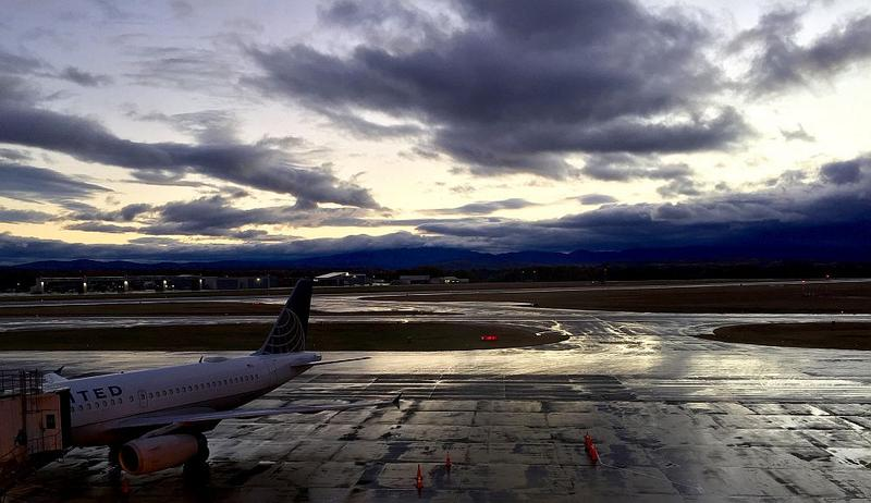 Rain passes over the mountains beyond Burlington International Airport in this photo taken in October 2015.
