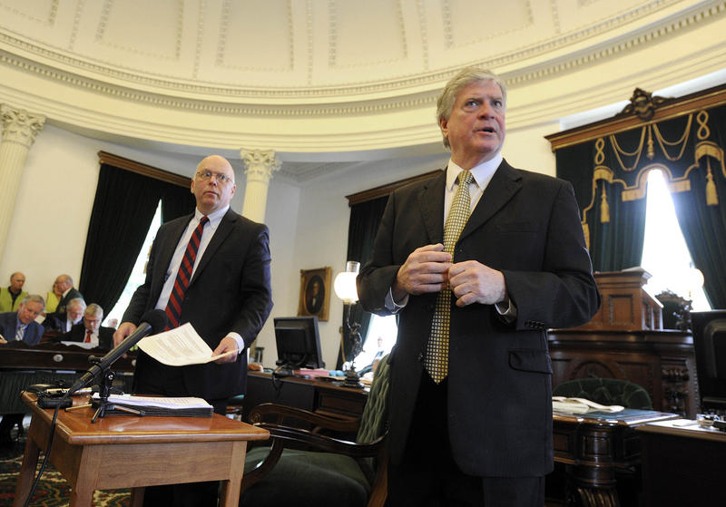 Sen. John Campbell, right. The Senate gave overwhelming approval early in the day to a replacement bill that most lawmakers agree will accomplishes all the intents of the original, without making any substantive changes to the negative.