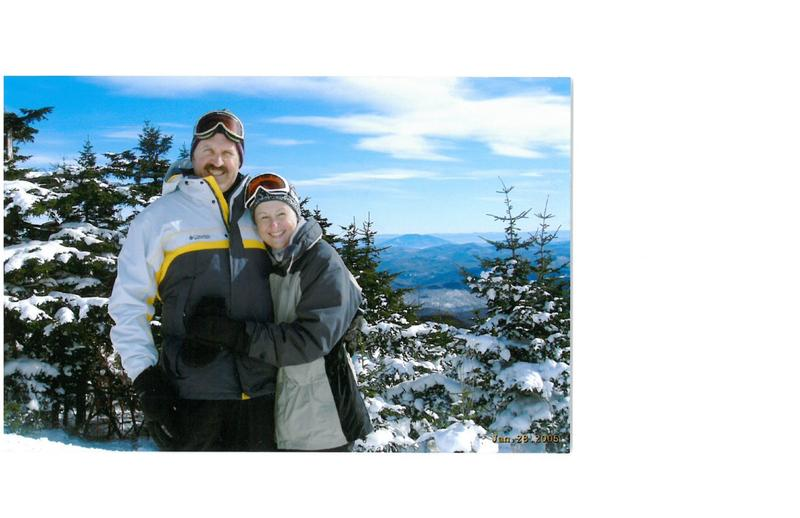 Jon and Kathryn Bellis skiing at Killington, where they owned a condominium.