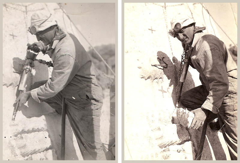 Luigi Del Bianco, a stonemason who spent time in Barre, is pictured here working on Mount Rushmore. His role as chief carver on the monument was recently recognized by the Mount Rushmore National Memorial.
