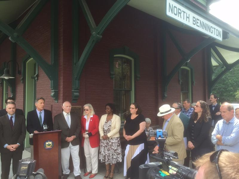 Gov. Peter Shumlin speaks before signing a toxic chemical bill at the North Bennington Train Depot Wednesday. The new law gives the state more options when facing future environmental contamination.