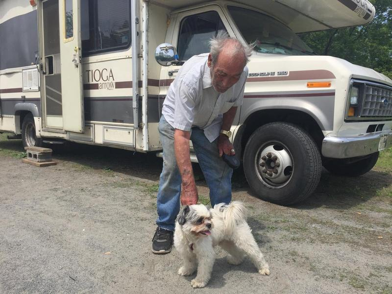Tom Moore and his dog Inky live together in Moore's RV. If a new city ordinance passes, they could soon be without a place to station their home in Lebanon, NH.