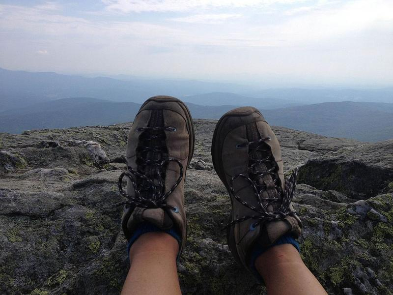 These boots were made for walking: a short rest after ascending Camel's Hump, one of Vermont's most popular hiking destinations.