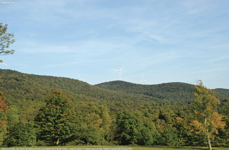 A simulated view of the proposed wind turbines in Windham.