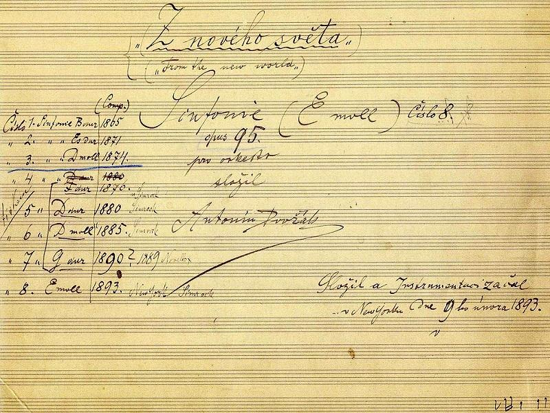 """The title page of the autograph score of Dvorak's 9th symphony, """"From the New World"""""""