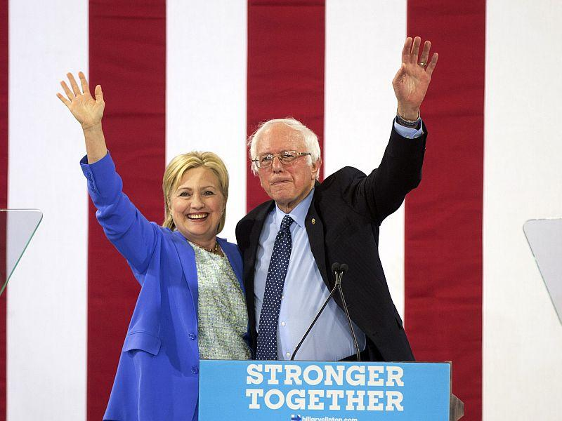 Senator Bernie Sanders officially endorsed Hillary Clinton at a rally in Portsmouth, New Hampshire.