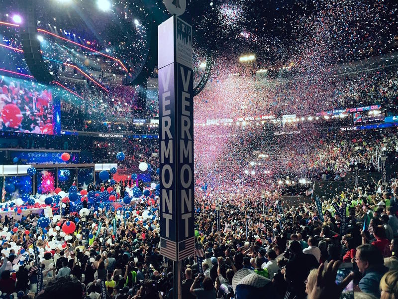 Confetti falls from the rafters of the Wells Fargo Center after the traditional balloon drop at the end of the 2016 Democratic National Convention.