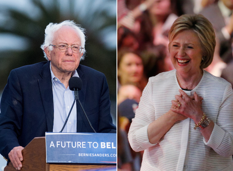 "Sen. Bernie Sanders in California, left, and Hillary Clinton at an event in New York in June. Sanders says he's working with Clinton to come together on economic issues in the party platform, but ""at the end of the day"" they will unite."
