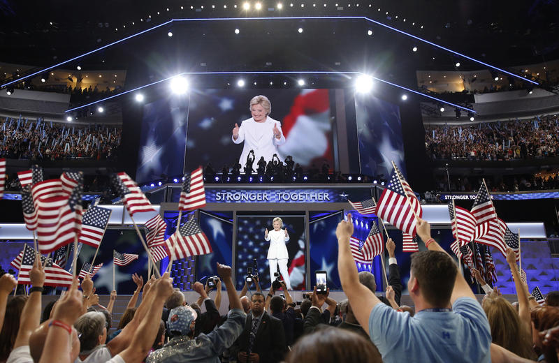 Presidential nominee Hillary Clinton on stage at the Wells Fargo Center in Philadelphia Thursday night to accept the Democratic party's nomination. Supporters of Sen. Bernie Sanders reacted in a relatively positive light.
