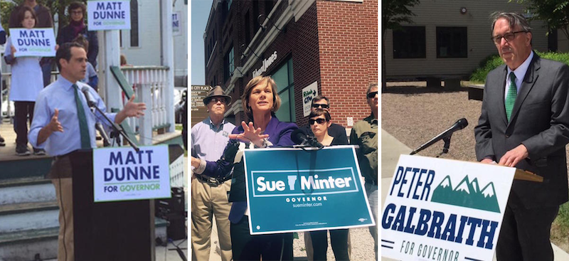 Democratic candidates for governor Matt Dunne, Sue Minter and Peter Galbraith are all highlighting how their political agendas align with Sen. Bernie Sanders in the hopes of connecting with progressive-minded voters.