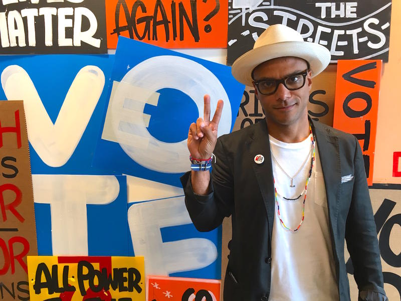 Luis Calderin, a former staffer for the Bernie Sanders campaign, is now working with Rock the Vote to encourage participation and engagement in the political process. Rock the Vote staged an art exhibition and event series in Philadelphia this week.