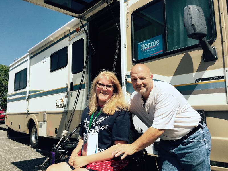 Vermont delegate Maria Rinaldi and her partner Mike Cseles outside the RV Csele modified to allow them to travel and attend to Rinaldi's needs. Arrangements with the DNC for convention accessibility have proved challenging.