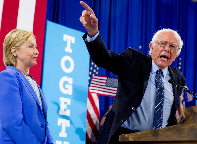 Sen. Bernie Sanders during his endorsement remarks Tuesday in Portsmouth, N.H. Since Sanders lost the California primary in June there have been calls for him to endorse Hillary Clinton. Instead, Sanders focused his attention on the party platform.