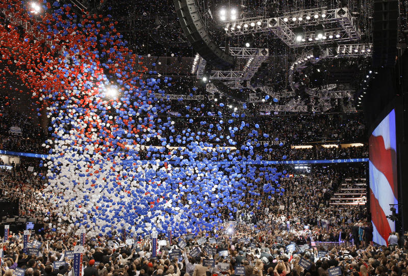 Red, white and blue balloons drop at the 2008 Republican National Convention in St. Paul, Minn. VPR will be at both of the 2016 conventions, and we want to hear from you: What do you want to know?