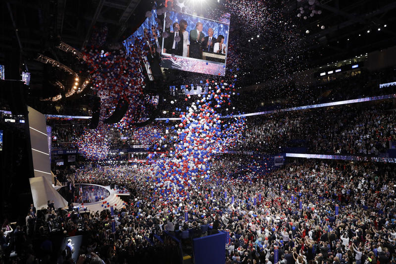 "Balloons fall at the Republican National Convention following Republican presidential candidate Donald Trump's speech on Thursday. VPR's John Dillon spent the week in Cleveland with the Vermont delegates and spoke to ""Vermont Edition"" before heading home."