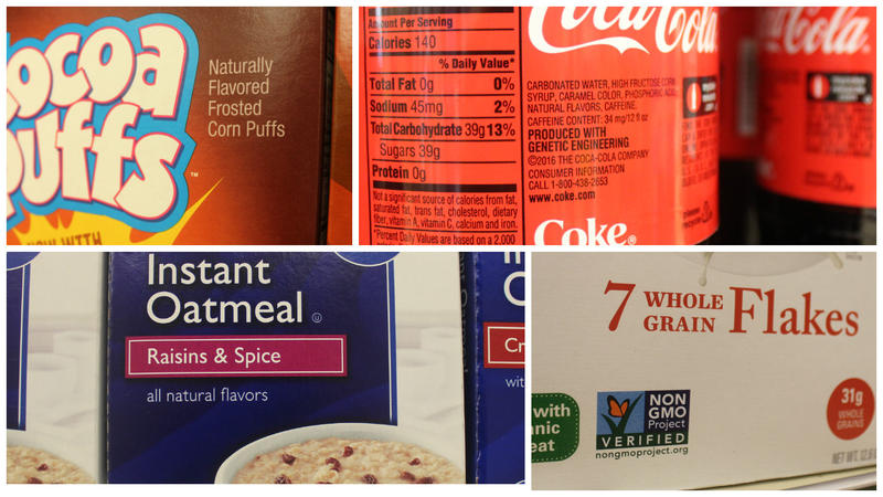 A collage of food labels