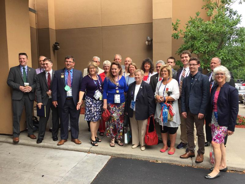 "A group shot of Vermont's delegation to the Republican National Convention, including some alternates. Two members of the delegation are on the Rules Committee, which late last week blocked an effort to ""dump Trump."""