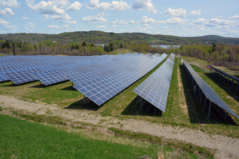 A solar array in Coventry. The Public Service Board is considering proposed changes to Vermont's net-metering program that solar power advocates say could threaten the health of the state's solar industry.