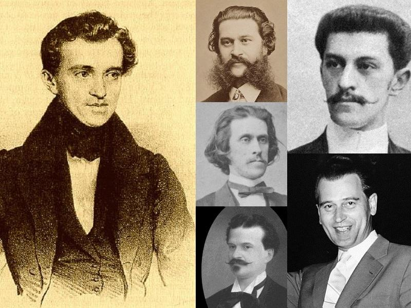 This collage is made up of portraits and photographs of four generations of the Strauss family; from the left, Johann Strauss I, his sons Johann Jr., Josef and Eduard, next Eduard's son Johann Strauss III and finally his nephew Eduard Strauss II.