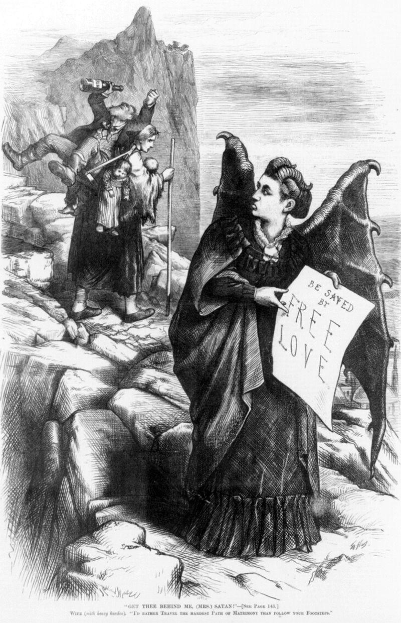 "Caricature of American suffragist Victoria Woodhull (1838-1927) by Thomas Nast (1840-1902). ""Get thee behind me, (Mrs.) Satan!"""