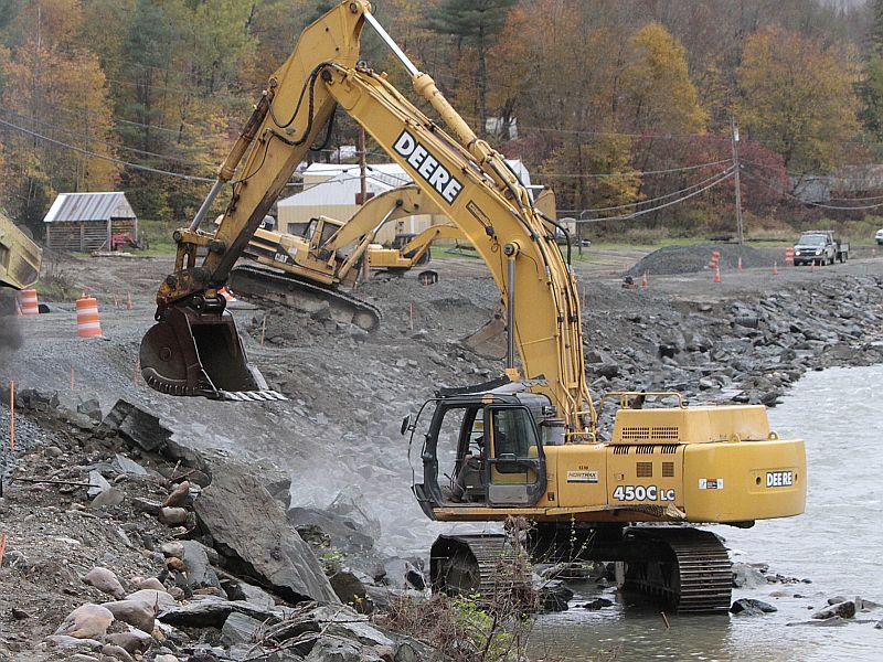 Road crews rebuilt Route 107 along the White River leading into Stockbridge.