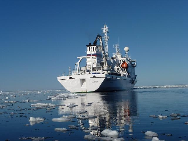 The research vessel a group of Dartmouth professors, alumni and President Phillip Hanlon used to tour the Arctic in early August 2016.