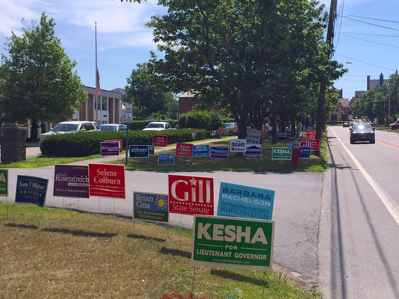 Campaign signs outside the Mater Christi School in Burlington Tuesday.