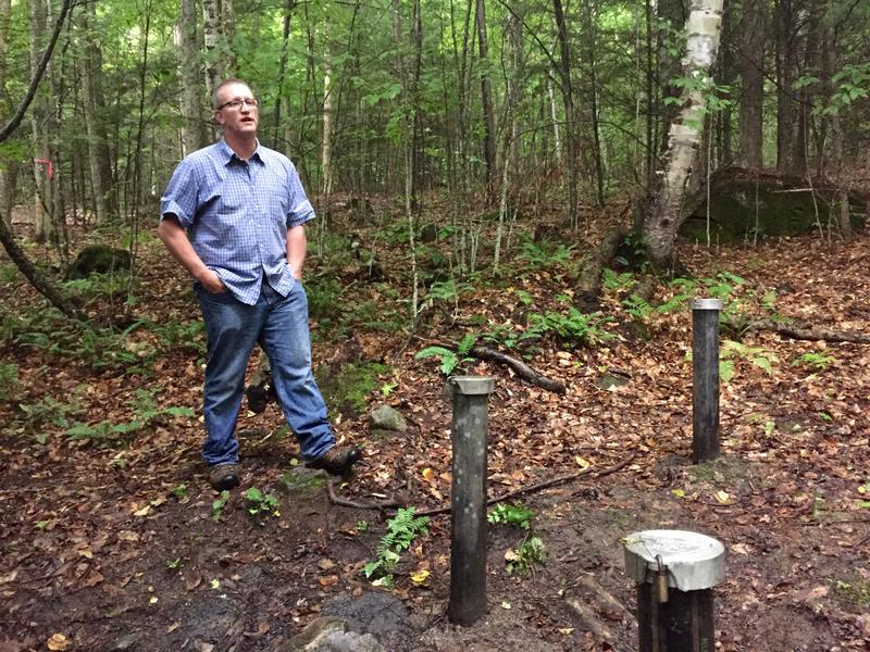 Hanover resident Richard Higgins stands near a well 375 feet away from his property, where groundwater tests have shown hundreds of times the New Hampshire state-alloted amount of the chemical 1,4-dioxane, a suspected carcinogen.