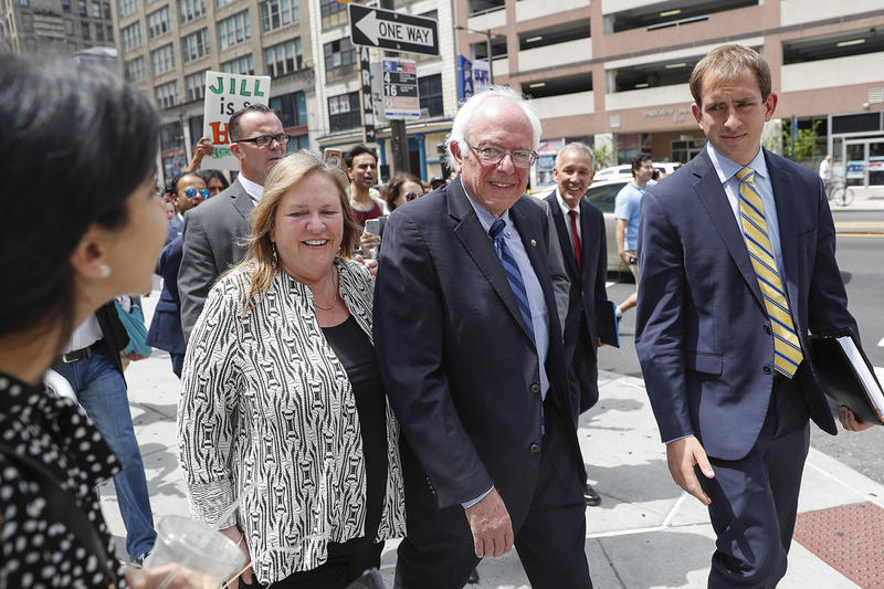 Sen. Bernie Sanders, pictured here with his wife Jane in Philadelphia during the Democratic National Convention, says he's confident the new group Our Revolution will advance his agenda.