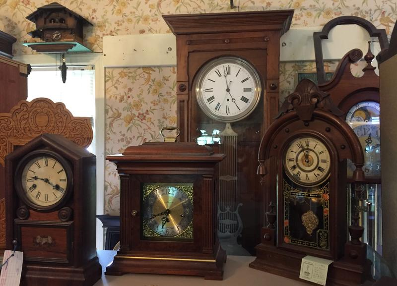 "A display of clocks at the Green Mountain Clock Shop in Williston. Owner Pat Boyden talked about how to repair clocks as part of the ""Summer School"" series on ""Vermont Edition."""