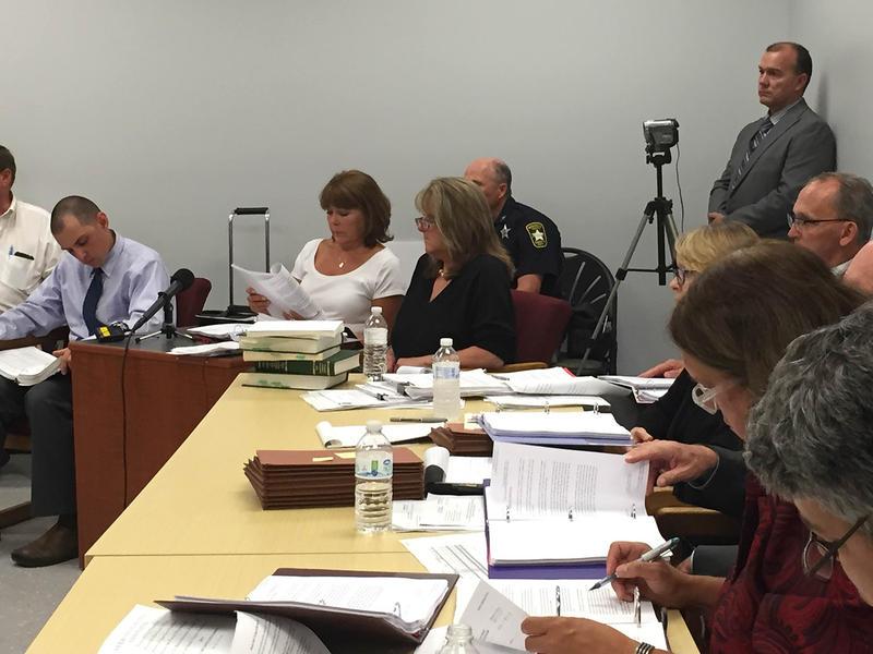Vermont Gas Vice President Eileen Simollardes, center, speaks at the hearing.
