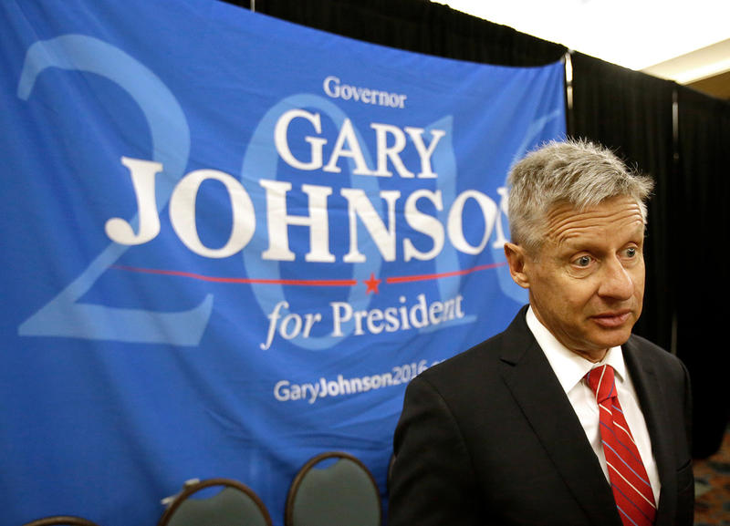 Libertarian presidential candidate Gary Johnson speaks at the National Libertarian Party Convention in Orlando, Fla. on May 27. Johnson told VPR Wednesday that he is now in favor of mandatory vaccination.
